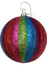Multicolor kerstbal met glitters
