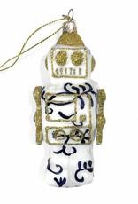 Aparte kersthanger van glas in de vorm van een robot