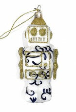 Quirky glass robot christmas tree ornament