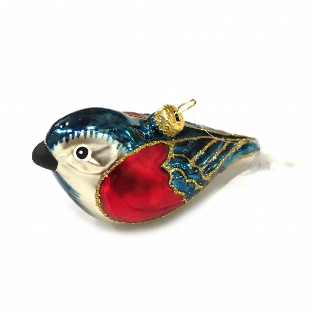 Quirky glass bird christmas tree ornament
