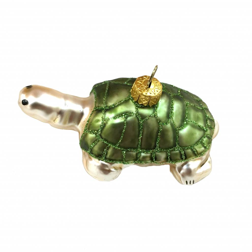 Quirky glass turtle christmas tree ornament