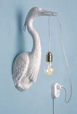 Wandlamp in de vorm van een reiger