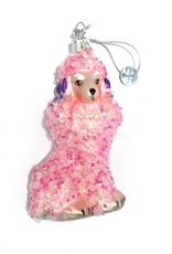 Quirky pink glass poodle christmas tree ornament