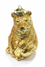 Quirky gold glass bear christmas tree ornament