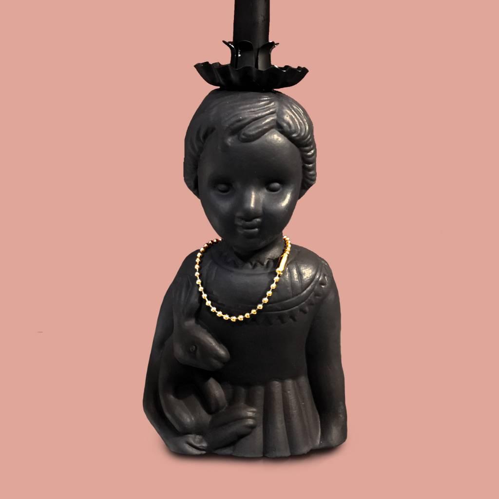 Half popje kandelaar van zwart keramiek van Lammers en Lammers