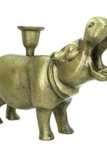 Brons metalen kandelaar in de vorm van een nijlpaard