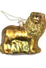 Glass lion christmas tree ornament