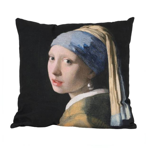 "Cushion with ""girl with the pearl earring"" print"