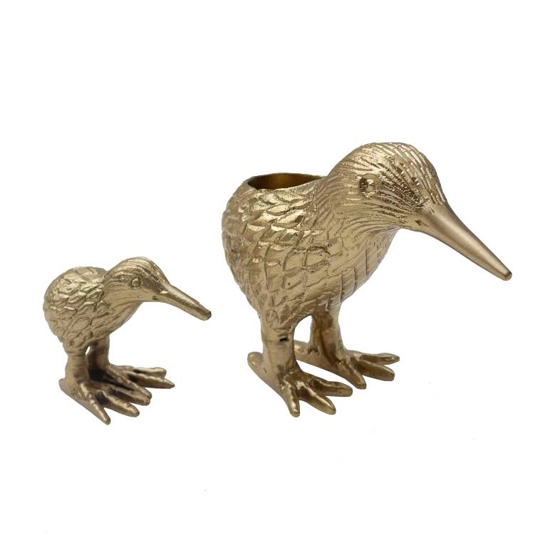 Gold candlestick in the shape of a kiwi bird duo