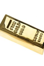 Ceramic money bank in the shape of a gold bar