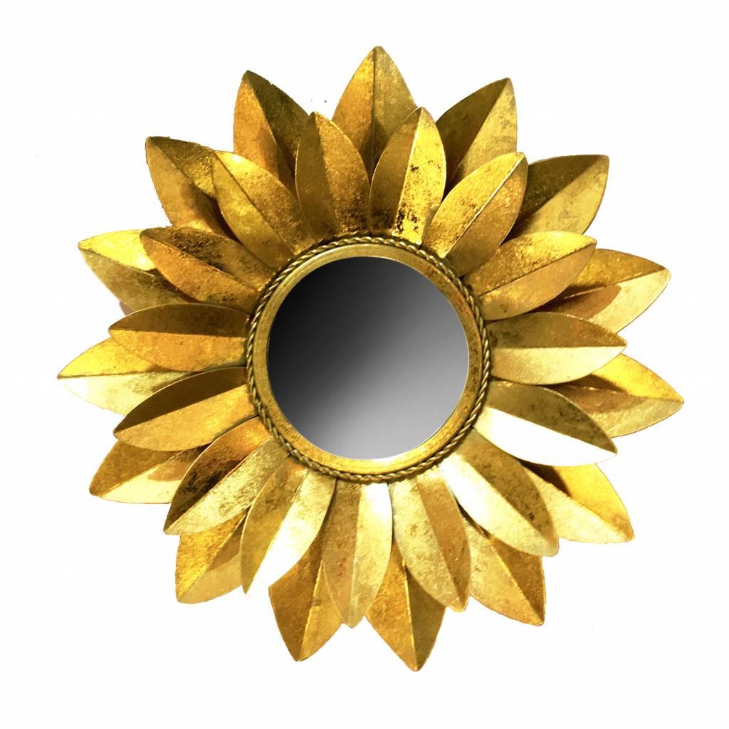 Goud metalen spiegel in de vorm van een zonnebloem