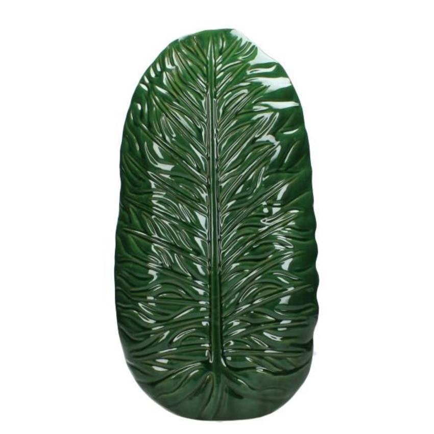 Large green ceramic leaf vase