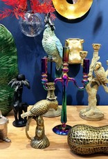 Brass look metal parrot candlestick
