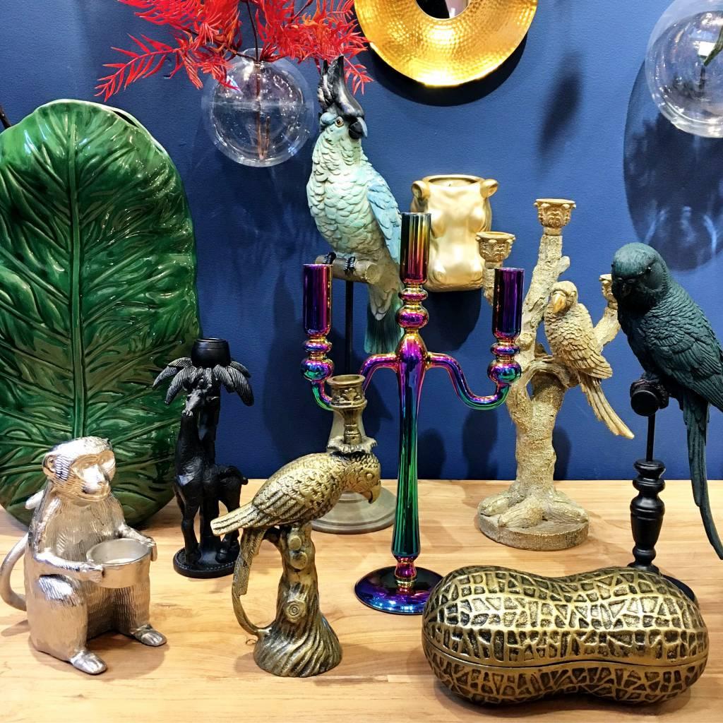 Brass look metal parrot candlestick