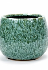 Retro design ceramic planter in green