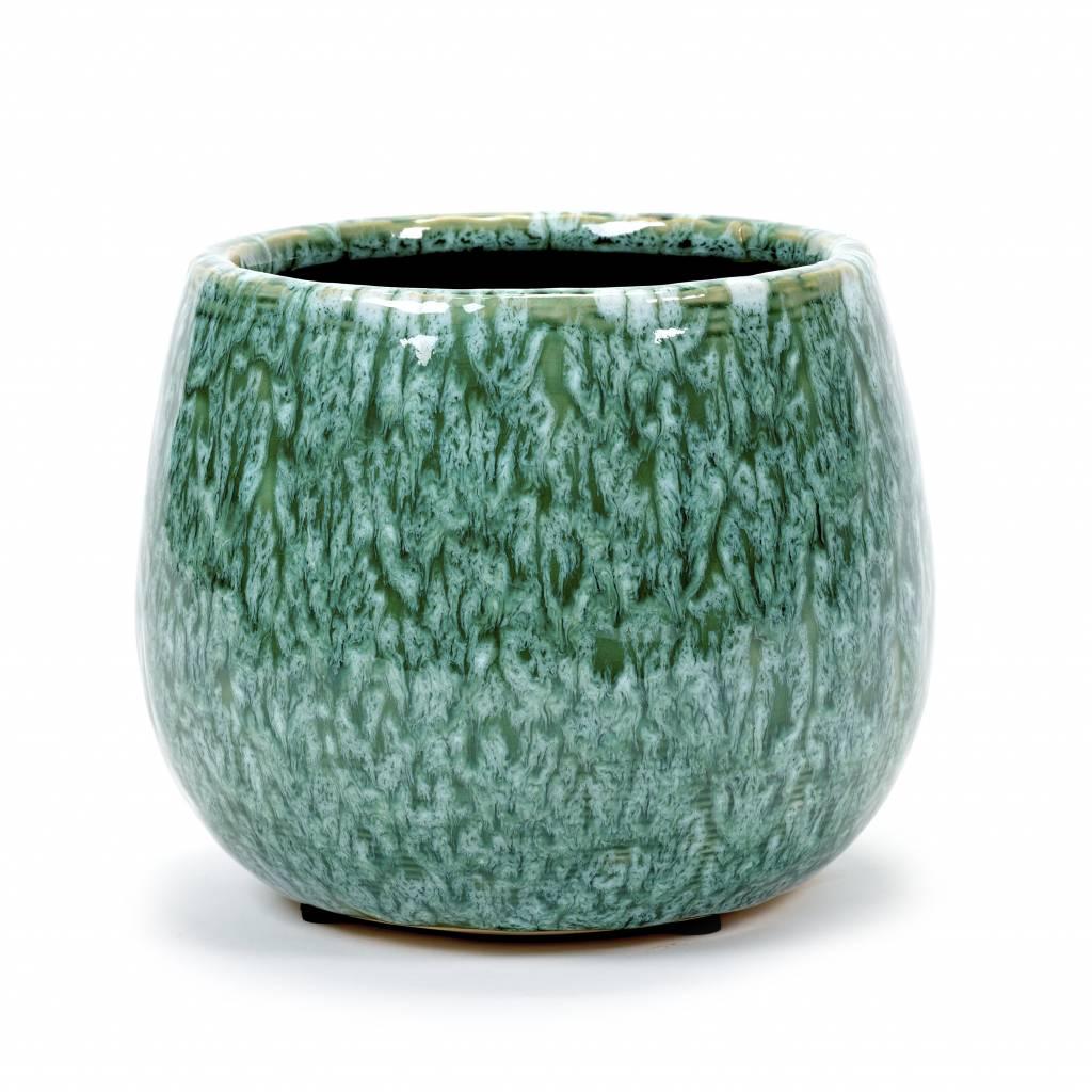 Retro design bloempot van groen keramiek