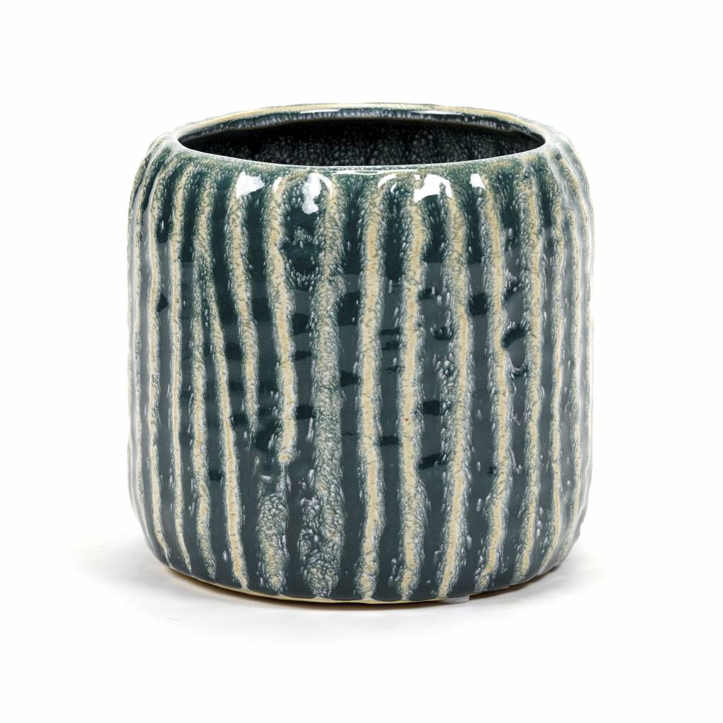 Retro design ceramic planter in green