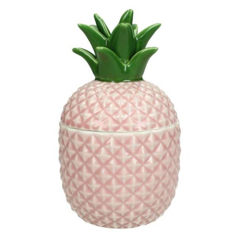 Pink ceramic pineapple jar