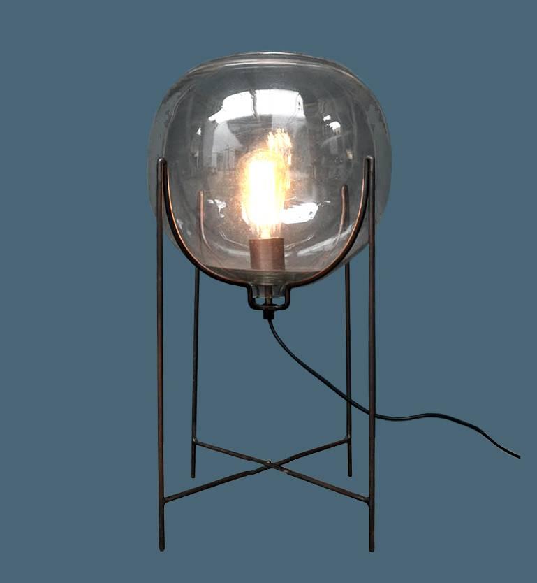 "Design lamp ""Ingo"" van glas en metaal"