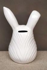 White ceramic bunny money bank