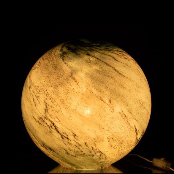 """Tafellamp van groen gemarmerd glas """"Orb"""""""