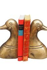 Gouden boekensteun set in de vorm van een eend