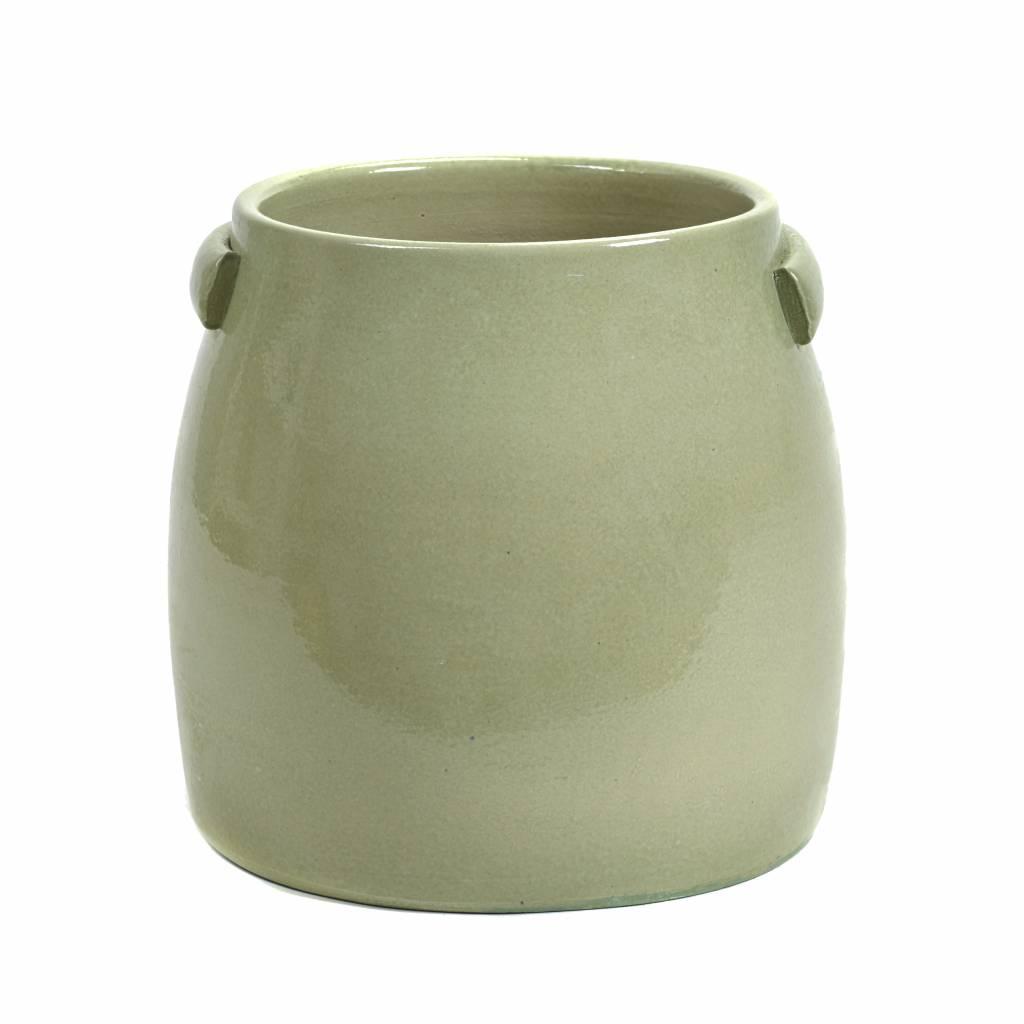 Mint green ceramic planter