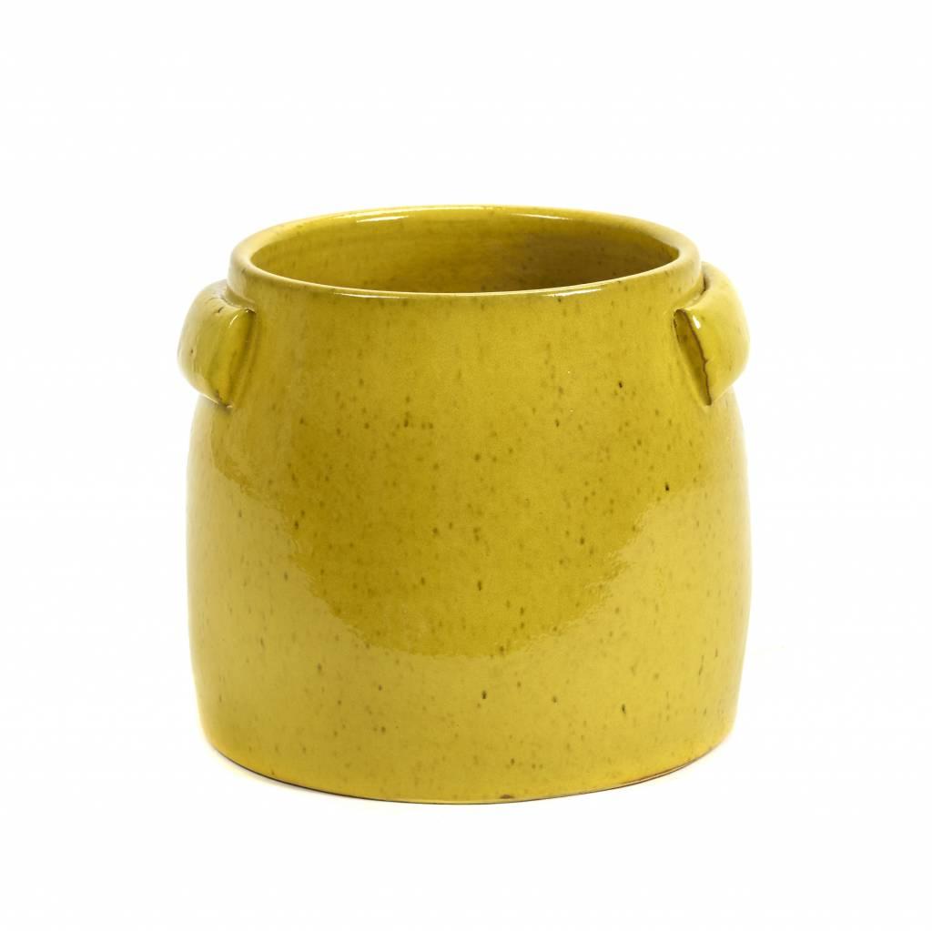 Gele bloempot voor binnen en buiten
