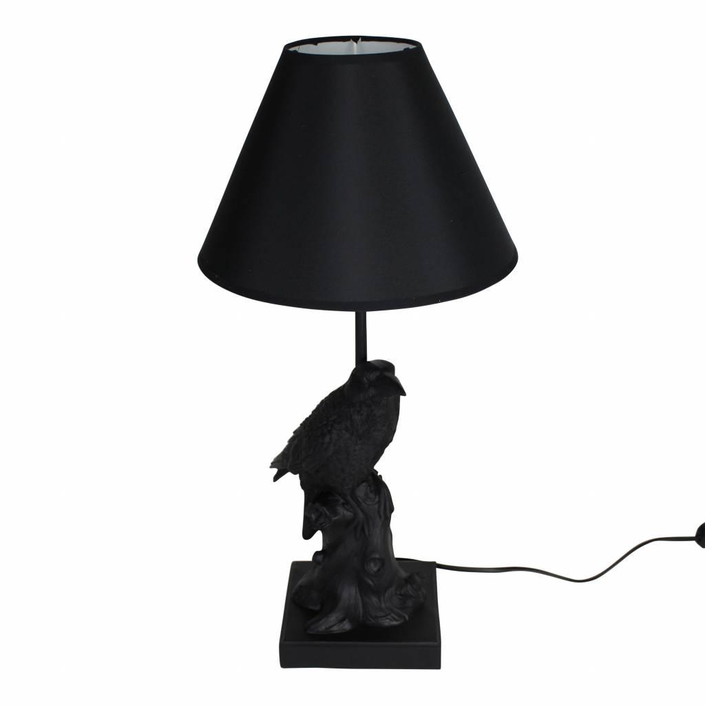 Zwarte vogel tafellamp in de vorm van een kraai