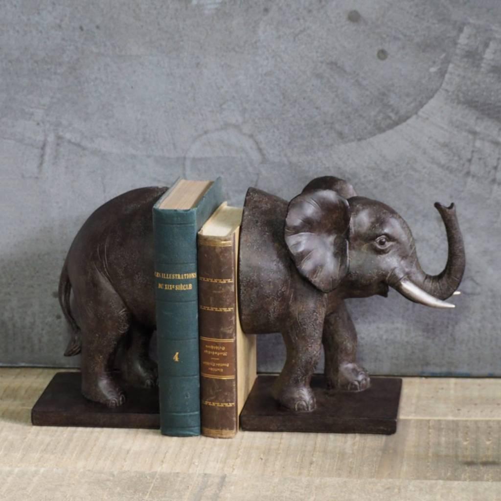 Decoratieve boekensteun set in de vorm van een olifant