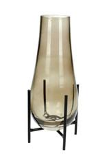 Design vaasje van glas op metalen houder
