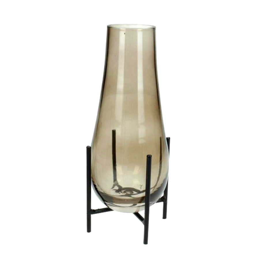 Modern design glass vase on metal stand