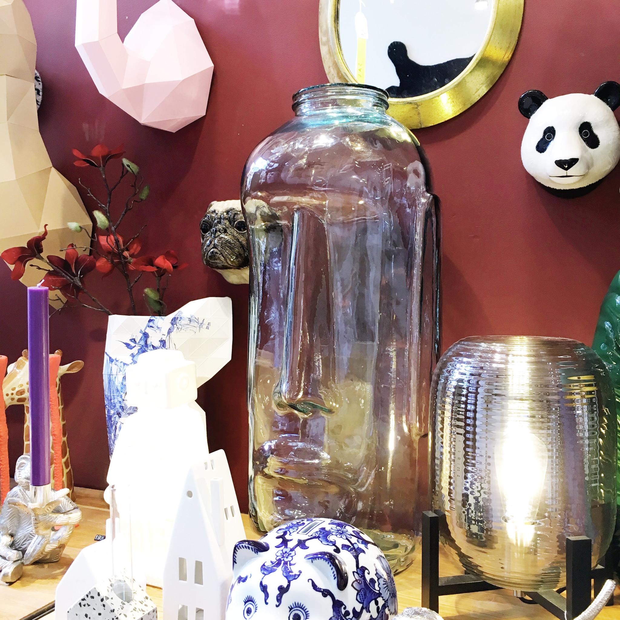 "Grote design vaas van glas ""Moai"""
