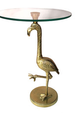 Gold metal flamingo table