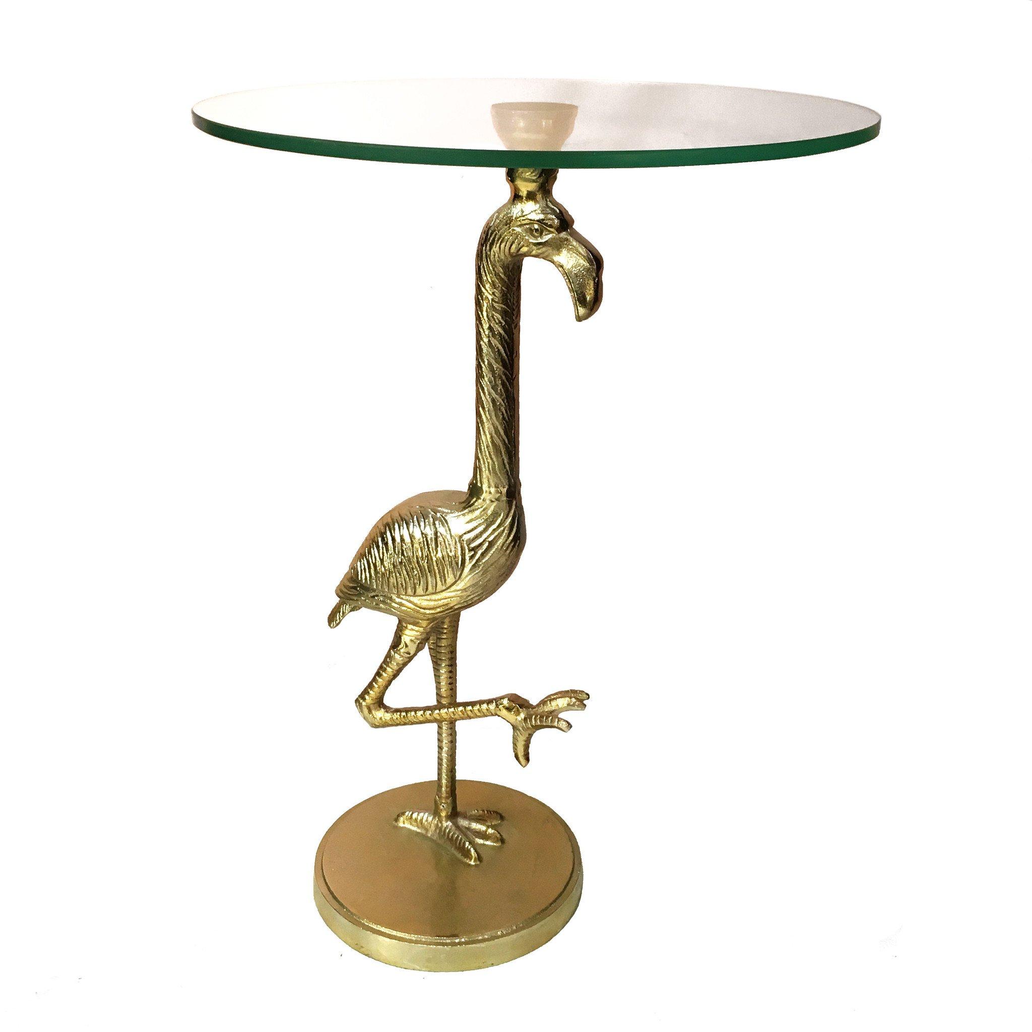 Flamingo bijzettafel van goud metaal