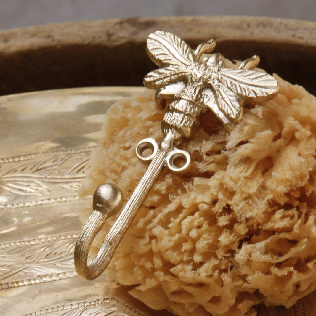 """Gold metal coat hook """"Queen Bee"""""""