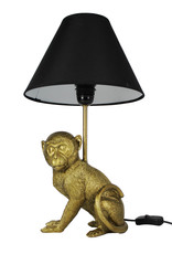 Gold sitting monkey table lamp with shade
