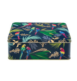 Tin box with parrot decoration