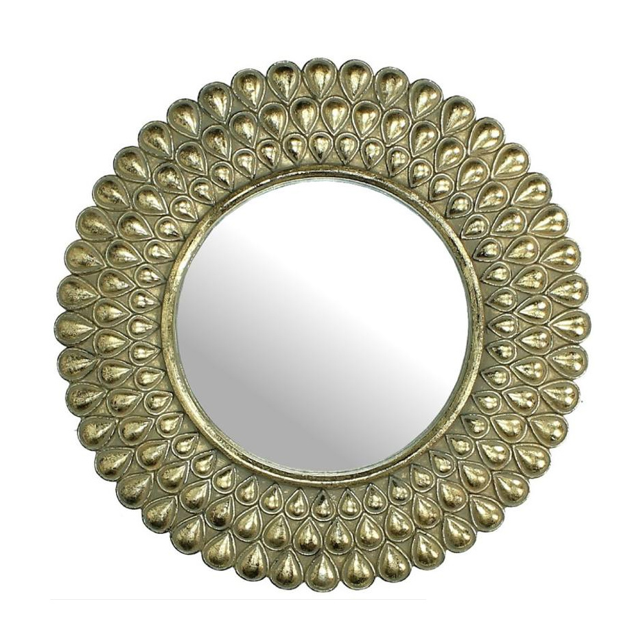 Gold round peacock mirror