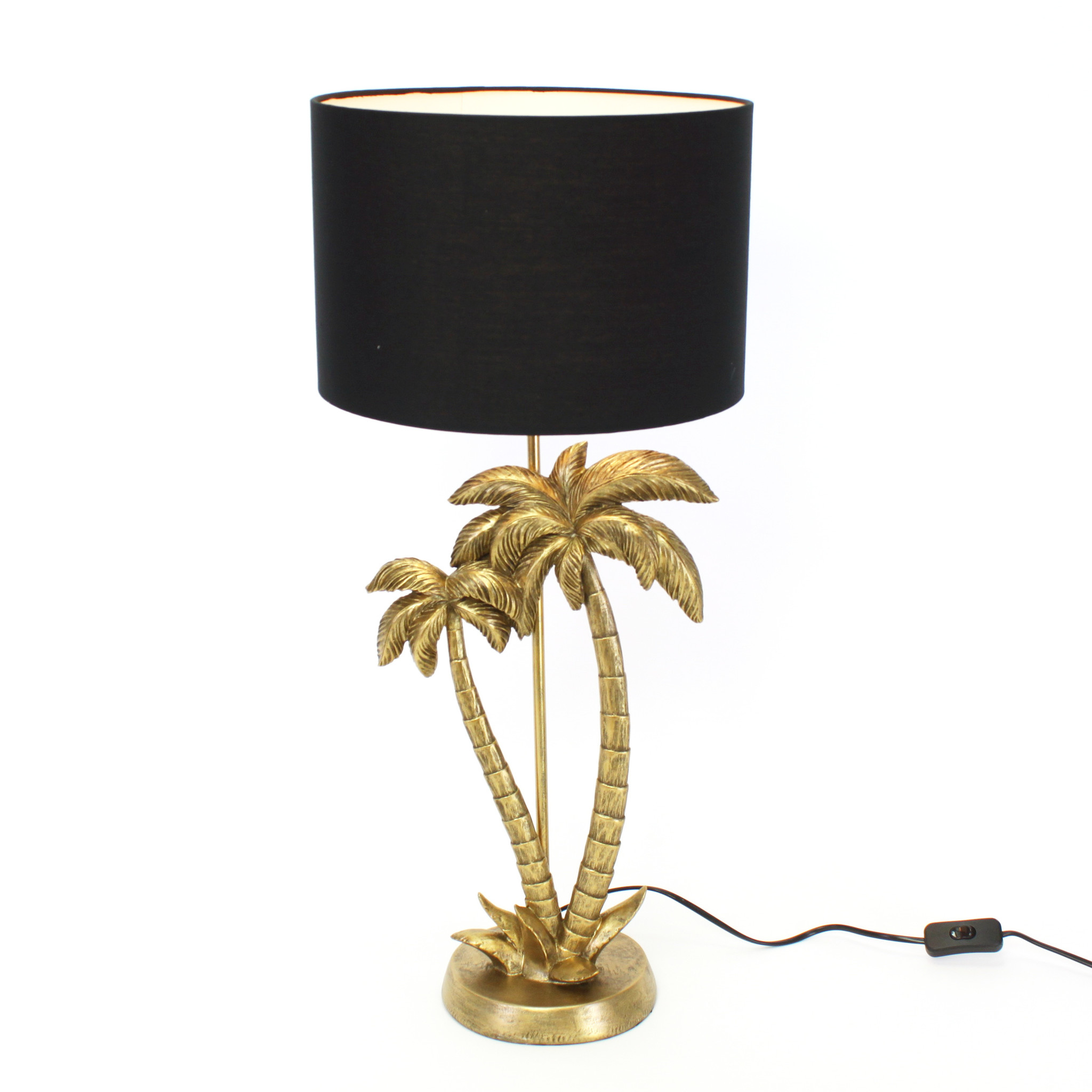 Gold palm tree table lamp with black shade