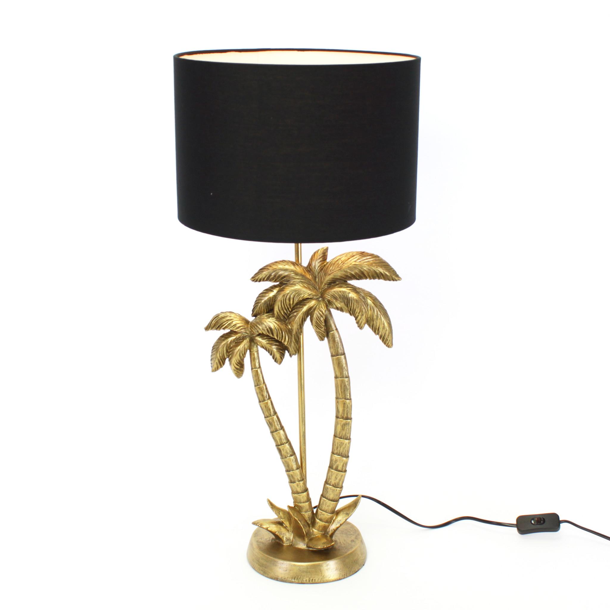 Gouden palm tafellamp met zwarte kap