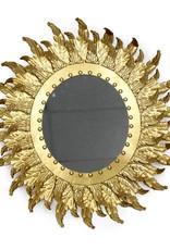 Gold metal sunflower mirror