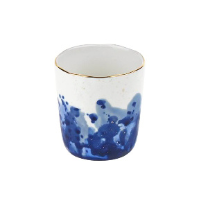 White cup with blue ink decor