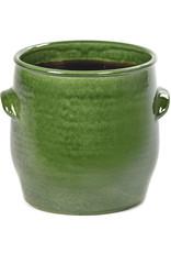 Groene bloempot van keramiek