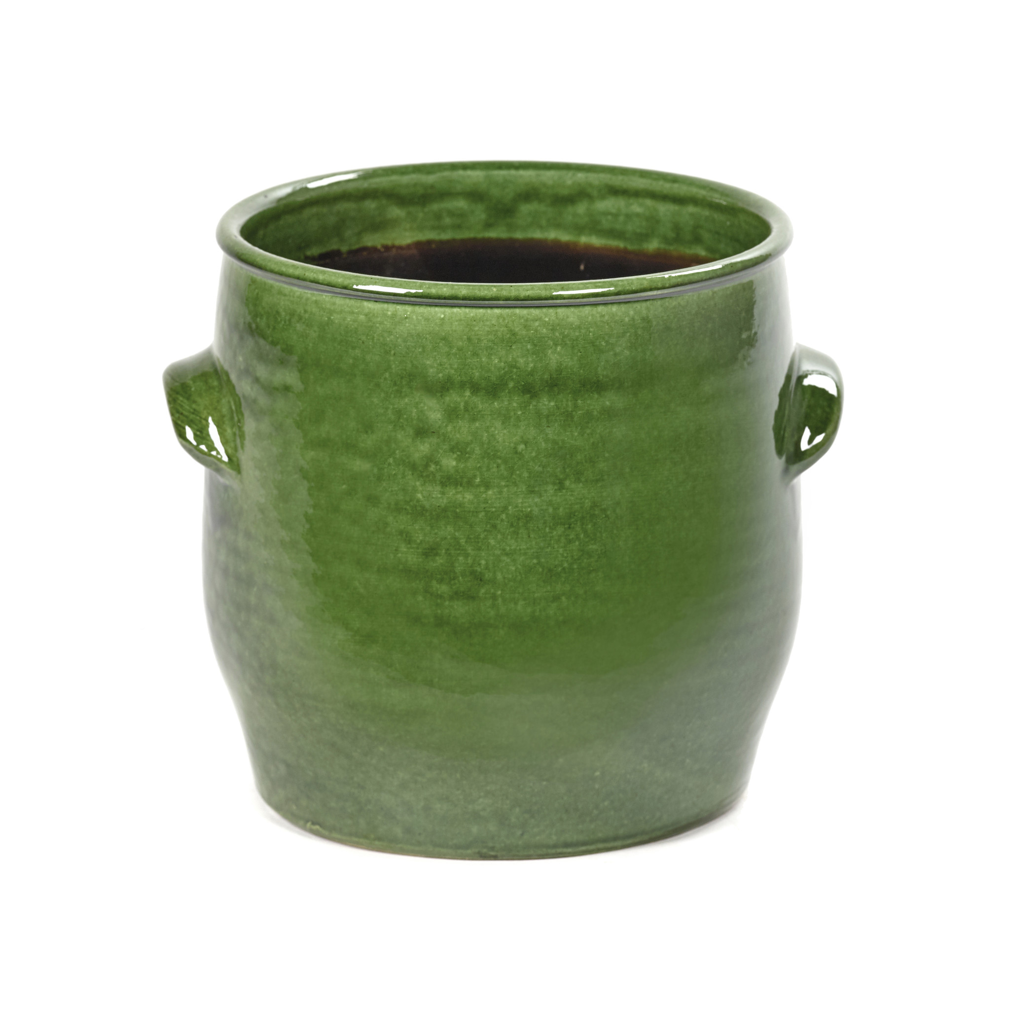 Green ceramic planter
