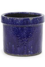 Blauwe bloempot van keramiek