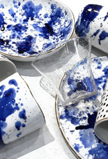 White dessert plate with blue ink decor