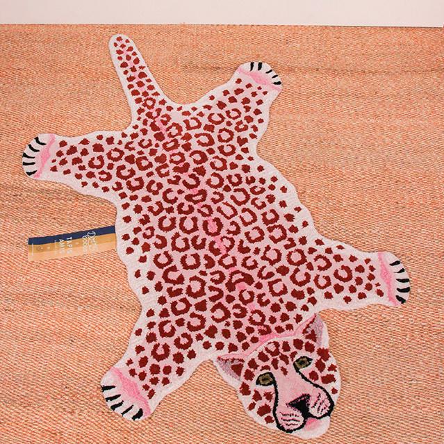 Large pink leopard rug