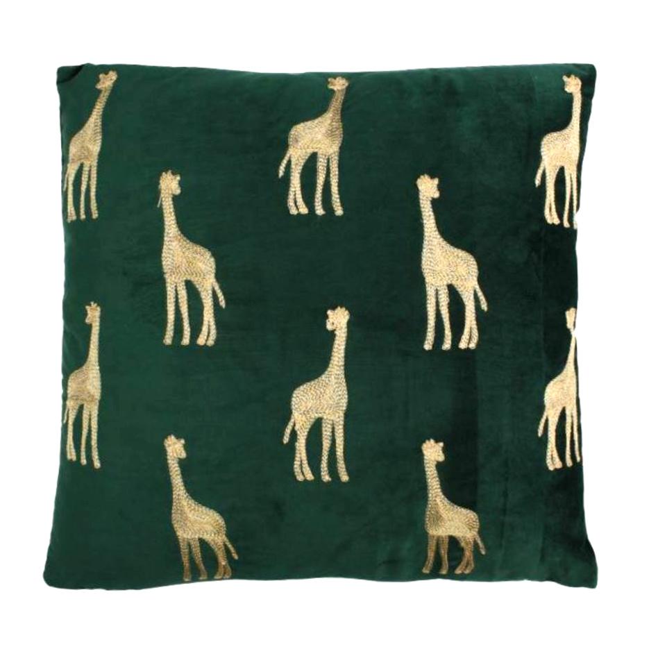 Green velvet cushion with gold giraffes