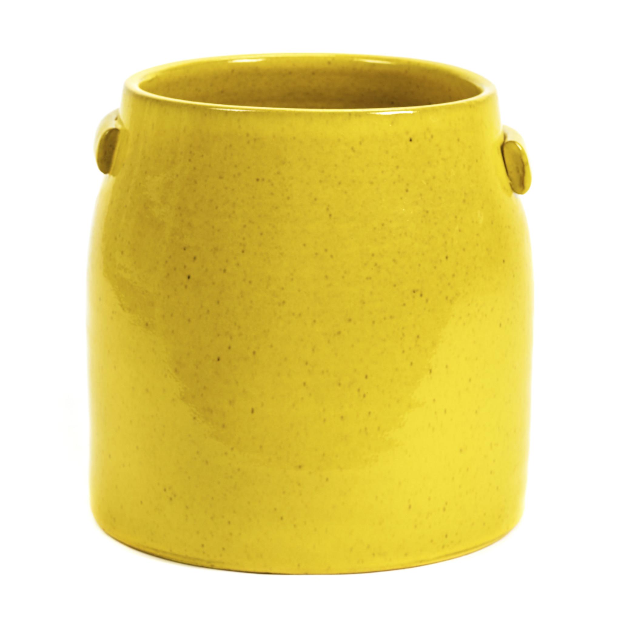 Gele bloempot van keramiek